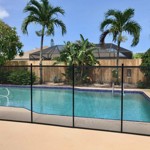 black pool fence installed - Pool Fence Installation